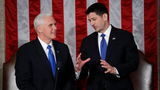 House Speaker Paul Ryan of Wis. talks with Vice President Mike Pence on Capitol Hill in Washington, Tuesday, Feb. 28, 2017, before President Donald Trump's speech to a joint session of Congress.