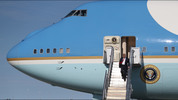 President Donald Trump arrives on Air Force One at the Palm Beach International Airport to spend the weekend at his Mar-a-Lago estate on Feb. 17, 2017.