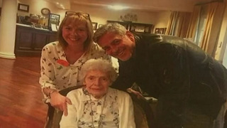 George Clooney Surprises 87-Year-Old Fan at Nursing Home for Her Birthday