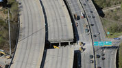 Aerial photo last Friday shows the portion of I-85 that collapsed after Thursday's fire.