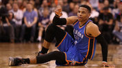 Russell Westbrook of the Oklahoma City Thunder tied a 55-year-old NBA record Friday night when he clinched a triple-double average for the season.