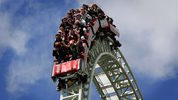 People riding the Stealth roller coaster at Thorpe Park in England. It's unclear if anyone has ever been struck by a bird on that coaster, but a rider at Spain's Ferrari Land theme park was hit by a pigeon while riding the Red Force coaster.