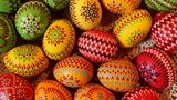 Easter eggs painted in traditional Sorbian motives lie on display and for sale at an annual Easter egg market.