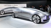 The Mercedes-Benz F015 Luxury in Motion concept car, a self-driving, hydrogen-electric plug-in hybrid, makes its debut at the 2015 International Consumer Electronics Show. Apple is set to debut a self-driving car.