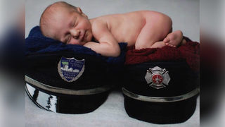 Cute baby photo alert: Mom is a  firefighter, dad is a  police officer