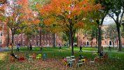 Harvard Yard on the campus of Harvard University in Cambridge.