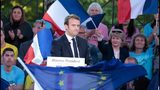 French presidential election candidate Emmanuel Macron delivers a speech during a campaign rally on Thursday.