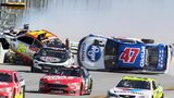 Chase Elliott (24) get airborne as AJ Allmendinger (47) flips on the backstretch in a crash involving multiple drivers bringing out a red flag during the Camping World 500 auto race at Talladega Superspeedway, Sunday, May 7, 2017, in Talladega, Ala.