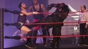"""The Scarecrow"" lands a low blow during the finale of a show at Kissimmee's Manor Pro Wrestling Dinner Theater."