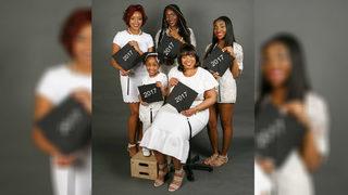 Three generations of women graduating this year celebrate in photo shoot