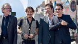 Actors, from left, Geoffrey Rush, Johnny Depp, Javier Bardem and Orlando Bloom attend the European premiere of Disney's 'Pirates of the Caribbean: Dead Men Tell No Tales.'