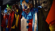 Scary clown costumes are displayed at a store in Mexico City. Authorities in Florida are still trying to solve a cold case murder involving a person who dressed up like a clown and killed Marlene Warren 27 years ago over Memorial Day weekend.