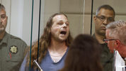 Jeremy Joseph Christian shouts as he is arraigned in Multnomah County Circuit Court in Portland, Ore., Tuesday, May 30, 2017. (Beth Nakamura/The Oregonian via AP, Pool)