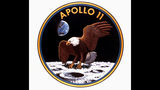 This is the insignia the Apollo 11 astronauts will wear when they blast off from Cape Kennedy July 16th on the first lunar landing mission. Astronaut Neil Armstrong is to se foot on the lunar surface early 7/21.