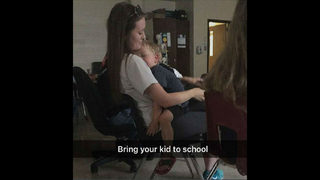 Teen takes 3-year-old brother to class with her, internet