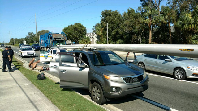 Hurricane Irma: Two men caught with stolen light pole on SUV