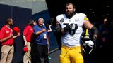 CHICAGO, IL - SEPTEMBER 24: Alejandro Villanueva #78 of the Pittsburgh Steelers stands by himself in the tunnel for the national anthem prior to the game against the Chicago Bears at Soldier Field on September 24, 2017 in Chicago, Illinois.
