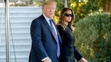 President Donald Trump and first lady Melania Trump walk toward Marine One on the South Lawn of the White House in Washington, Wednesday, Oct. 4, 2017.