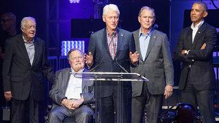 Former President George W. Bush cracks joke, Obama gets the giggles…