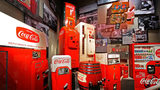 Vintage vending machines on display at the World of Coca-Cola.