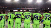 Running back Thomas Rawls #34, defensive tackle Sheldon Richardson #91, defensive tackle Nazair Jones #92, defensive end Branden Jackson #67, defensive tackle Jarran Reed #90 and defensive end Michael Bennett #72 of the Seattle Seahawks (11/0/17)