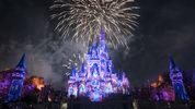 Walt Disney World Resort guests enjoy a fireworks show at Magic Kingdom Park.