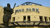 PITTSBURGH - MAY 9: The J.P. 'Honus' Wagner statue is in front of the PNC Park before the game between the Los Angeles Dodgers and the Pittsburgh Pirates on May 9, 2004 in Pittsburgh, Pennsylvania. The Dodgers won 9-7.