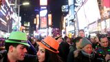 NEW YORK - JANUARY 01: (L-R) Orel De La Mota, 27, and Alexa Lowery, 25, celebrate New Year's eve in Times Square just after midnight on January 01, 2017 in New York City.