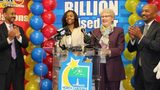 Marie Holmes (second from left) won $88 million (after taxes) in a Powerball drawing in 2015. North Carolina Education Lottery