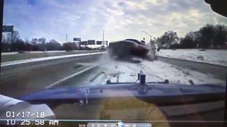 Driver runs onto freeway to avoid car crashing into tow truck