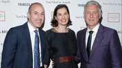 Disgraced news anchor Matt Lauer, wife Annette Roque and artist David Kratz, right, attend the 2013 Tribeca Ball at the New York Academy of Art on April 8, 2013 in New York City.