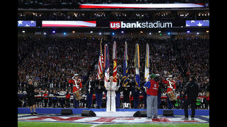 Photos: Pink performs the national anthem at Super Bowl LII