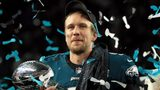 Eagles quarter back Nick Foles celebrates with the Lombardi Trophy after defeating the New England Patriots 41-33 in Super Bowl LII at U.S. Bank Stadium on February 4, 2018 in Minneapolis, Minnesota.