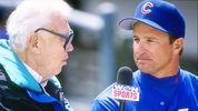 28 Apr 1995: Manager Jim Riggleman of the Chicago Cubs speaks with reporter Harry Caray during opening day at Wrigley Field in Chicago, Illinois. (Mandatory Credit: Jonathan Daniel /Allsport)