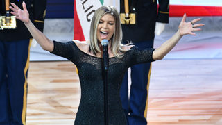 Fergie says National Anthem at NBA game