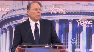 Who is NRA head Wayne LaPierre and what did he say at the CPAC meeting?