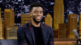 """NEW YORK, NY - FEBRUARY 28: Chadwick Boseman visits """"The Tonight Show Starring Jimmy Fallon""""at Rockefeller Center on February 28, 2018 in New York City. (Photo by Jamie McCarthy/Getty Images for NBC)"""