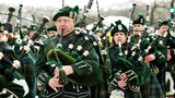 Bagpipe members of the Shannon Rovers Pipe Band are seen in the St. Patrick's Day parade March 12, 2005 in Chicago, Illinois. Chicago is celebrating St. Patrick's Day with its 50th annual parade. (Photo by Tim Boyle/Getty Images)