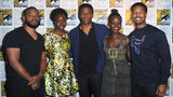 SAN DIEGO, CA - JULY 23: (L-R) Director Ryan Coogler, actors Danai Gurira, Chadwick Boseman, Lupita Nyong'o, and Michael B. Jordan of 'Black Panther' attend the Marvel Studios presentation during Comic-Con International 2016.