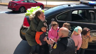 VIDEO: Officer proposes to girlfriend during school visit