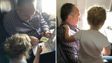 An Arkansas mom's story of how a stranger helped her and her two young children on a flight is warming hearts across the country. (Photos used with permission from Jessica Rudeen / Facebook)