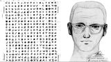 Pictured at left is one of the ciphers the self-identified Zodiac Killer sent to San Francisco-area newspapers during his string of attacks in 1968 and 1969. At right is a sketch made with the help of witnesses to one of his slayings.