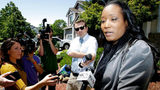 Ina Rogers talks with reporters about the seizure of her 10 children by law enforcement Monday, May 14, 2018, in Fairfield, Calif.