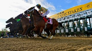 Under foggy, sloppy conditions Justify wins 2018 Preakness Stakes