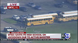 In this image taken from video law enforcement officers respond to a high school near Houston after an active shooter was reported on campus, Friday, May 18, 2018, in Santa Fe, Texas.