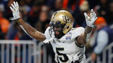 Dredrick Snelson #5 of the UCF Knights celebrates after scoring a touchdown in the fourth quarter against the Auburn Tigers during the Chick-fil-A Peach Bowl at Mercedes-Benz Stadium on January 1, 2018 in Atlanta, Georgia.