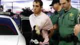Cody Blake Hession was arrested in Holiday, Florida, for auto theft after he reportedly drove a stolen vehicle into a ditch. His monkey, Monk, was taken away by wildlife officials.