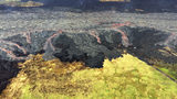 """Overflows of the Kilauea Volcano's upper fissure 8 lava channel flowing laterally sent small flows of lava down the """"levee"""" walls, middle, near Kapoho on the island of Hawaii. (U.S. Geological Survey via AP)"""
