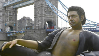 Bare-chested Jeff Goldblum statue appears in London park on 'Jurassic Park