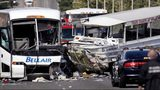 A charter bus, left, and an amphibious Ride the Ducks tour vehicle collided on the Aurora Bridge in downtown Seattle on Thursday, Sept. 24, 2015.